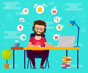 Man working on computer. Work desk, flat cartoon person character, idea of freelancer workplace, online internet conversation image. Vektor EPS10