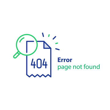 Page not found, 404 error, web page banner, search result concept