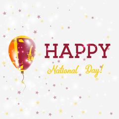 Sri Lanka National Day patriotic poster. Flying Rubber Balloon in Colors of the Sri Lankan Flag. Sri Lanka National Day background with Balloon, Confetti, Stars, Bokeh and Sparkles.