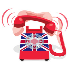 Ringing red stationary phone with rotary dial and flag of UK. Vector illustration.