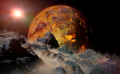 alien lava planet rising over the horizon of its moon