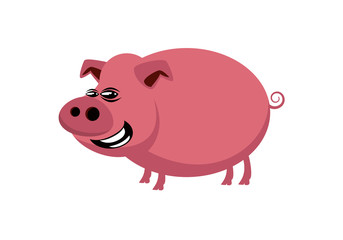 Pig cartoon character. Pig vector illustration. Pig icon vector