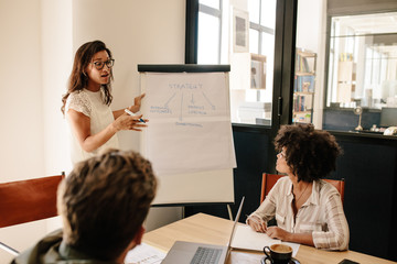 Woman explaining new strategies to coworkers