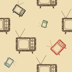 Editable Old Television Vector Illustration Seamless Pattern