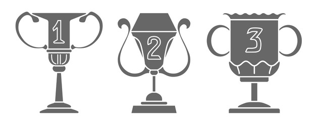Set of champion cup in trendy flat style icon. Simple winner symbol. Vector illustration isolated on white background.