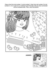 Hairdressing themed connect the dots picture puzzle and coloring page with beatiful girl, comb and curlers. Answer included.