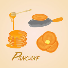 pancake on pan and with honey. top view butter. sweet classic breakfast.vector illustration.