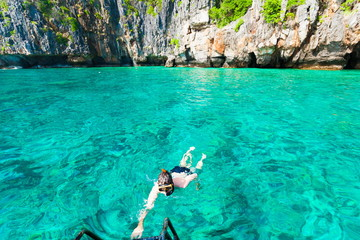 Thailand. Man sea, snorkeling
