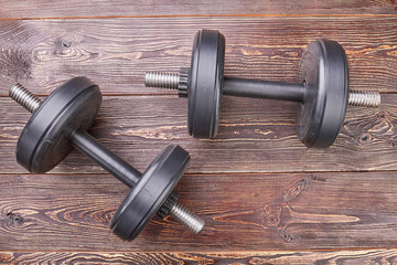 Dumbbells for strong healthy body. Make your body shape with dumbbells.