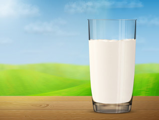 Glass of milk on wooden table on background of blurred landscape. Cow milk in glass cup with meadow and sky. Vector illustration for milk, food service, dairy, beverages, gastronomy, health food, etc
