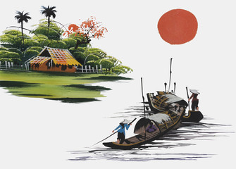 Landscape with hills, sun, lake and fisherman in traditional japanese sumi-e style on vintage watercolor background. Vietnam, China