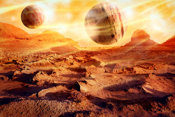 Fotobehang Baksteen Planets over a lifeless desert. Space landscape in red-yellow tones. Alien planet concept. Artistic image.