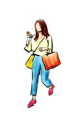 shopping girl with smartphone cartoon drawing isolated