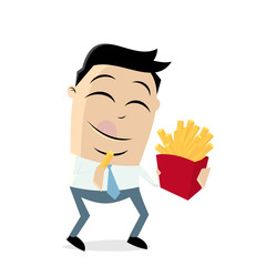 clipart of a man eating french fries
