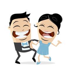 happy couple is dancing