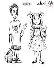 Vector illustration of school children, boy and girl.