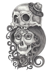 Art women skulls day of the dead.Hand pencil drawing on paper.