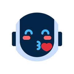 Robot Face Icon Smiling Face Blowing Kiss Emotion Robotic Emoji Vector Illustration