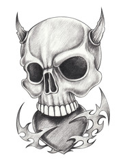 Art devil skull tattoo.Hand pencil drawing on paper.