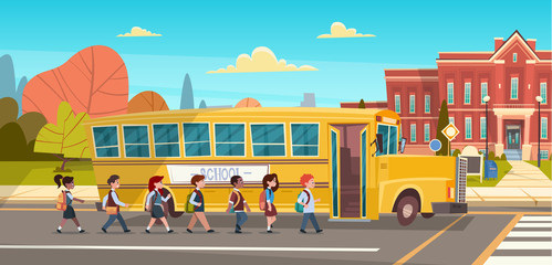 Group Of Pupils Mix Race Walking To School Building From Yellow Bus Primary Schoolchildren Students Flat Vector Illustration