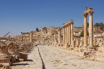 Main Roman street in Jerash Jordan