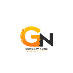 Initial Letter GN linked design with bubble in orange color. Vector icon symbol logo illustration eps10