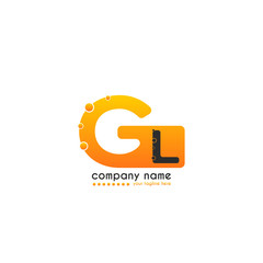 Initial Letter GL linked design with bubble in orange color. Vector icon symbol logo illustration eps10