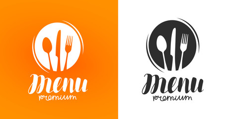 Cooking, cuisine logo. Icon and label for design menu restaurant or cafe. Lettering, calligraphy vector illustration
