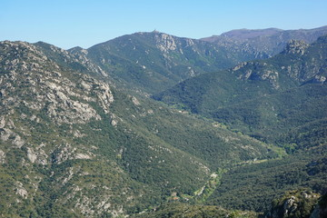 Aerial landscape the valley of Lavail and the mountains of the massif des Alberes, Pyrenees Orientales, Roussillon, south of France