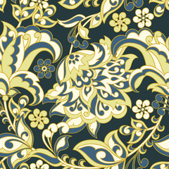 Floral Seamless Damask background. Vector illustration.