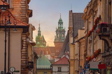 Autocollant pour porte Cracovie Krakow - Wawel castle in sunset time in urban areas