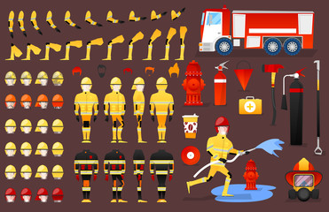 Firefighter Character Creation Constructor. Man in Different Poses. Male Person with Faces, Arms, Legs, Hairstyles. Vector illustration