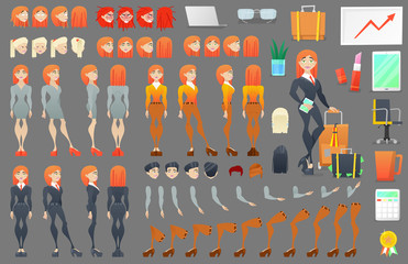 Business Woman Character Creation Constructor. Woman in Different Poses. Female Person with Faces, Arms, Legs, Hairstyles. Vector illustration
