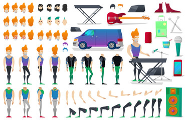 Musician Character Creation Constructor. Man in Different Poses. Male Person with Faces, Arms, Legs, Hairstyles. Vector illustration