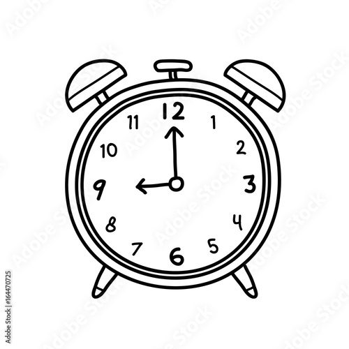 Analog Alarm Clock Doodle, a hand drawn vector doodle illustration