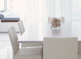 Modern kitchen and dining room. Nice apartment, interior, comfortable domestic kitchen