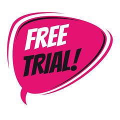 free trial retro speech bubble