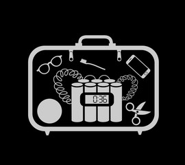 X-ray inspection - suitcase with bomb and blast. Dangerous explosive device for terrorist attack is checked by screening. Machine for security and safety against terrorism. Vector illustration