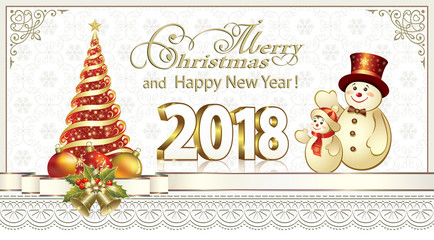 2018 New Year with a Christmas tree and merry snowmen