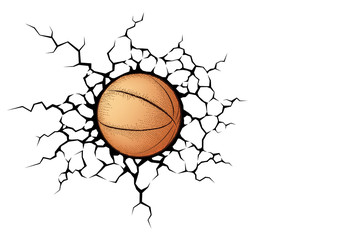 Basketball smash the white wall with cracks hole. Texture design of a white background. Sport ball vector for tournament.