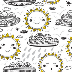 cute sun and clouds childish seamless pattern black and yellow