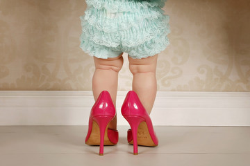 baby girl with high heels