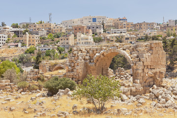Jerash ruins near modern city