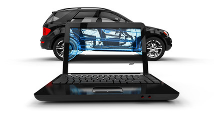 Wire Frame SUV / 3D render image representing an luxury SUV in wire frame on  laptop