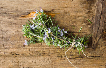 Rosemary plant bouquet on a wooden table