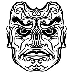 Tattoo design of tribal mask illustration