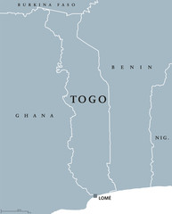 Togo political map with capital Lomé and international borders. Togolese Republic, a country in West Africa on Gulf of Guinea. Gray illustration isolated on white background. English labeling. Vector.