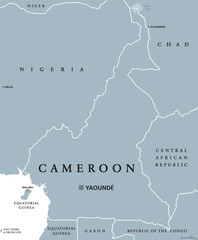 Cameroon political map with capital Yaoundé, international borders and neighbors. Republic and country in Central Africa. Gray illustration isolated on white background. English labeling. Vector.