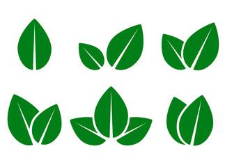 green leaf eco icons set