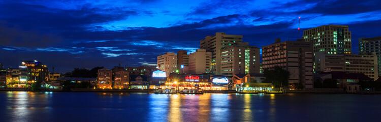 Panorama of Wang Lang (Siriraj) Pier in twilight time